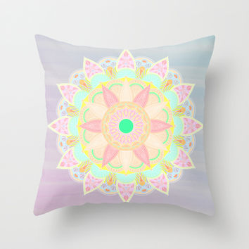 Pastel Mandala Throw Pillow by Sara Eshak