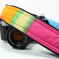 dSLR, SLR, Camera Strap with pocket, Watercolors 3, OOAK, Tie dye, Rainbow