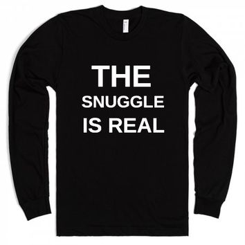 The Snuggle is Real-Unisex Black T-Shirt