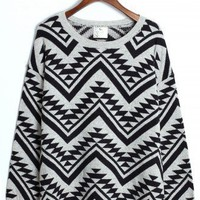 Aztec Triangle Pattern Jumper in Black/Grey - Retro, Indie and Unique Fashion