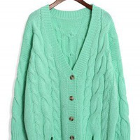 Mint Classic Cable Knit Cardigan by Chic+ - Retro, Indie and Unique Fashion