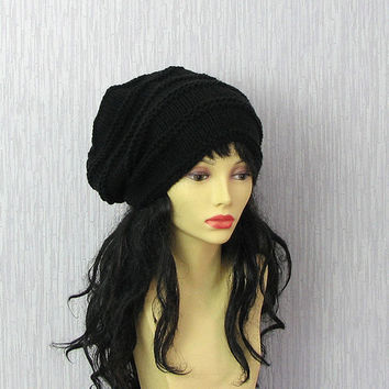 Black Slouchy Beanie Hat Mens Slouch Hat Hand Knitted Slouchy Beanie Tam Dreads Hat Unisex