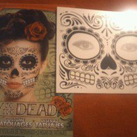 Day of the Dead SUGAR SKULL Face TATTOO Halloween Costume Mask Makeup Prop