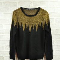 Most fashion trendsetter gold splicing retro sweater/tops/pullover to woman/lady