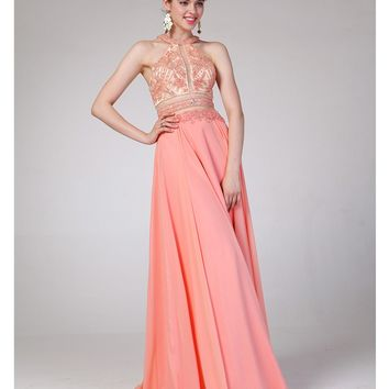 Coral Two Piece Cut Out Halter Dress 2015 Prom Dresses