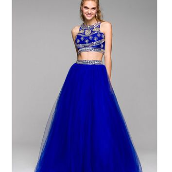 Royal Blue Two Piece Beaded Gown 2015 Prom Dresses