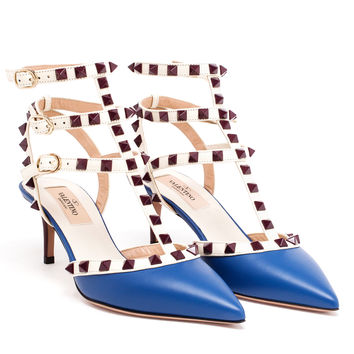 Leather Rockstud Mid Heels - VALENTINO
