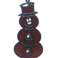 Rustic, Recycled Metal Snowman with Top Hat - Large Pendant Charm Christmas Ornament Wedding Favor
