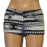 Aztec Print Shorts \ hotpants UK Size 4 6 8 10 12 14 16