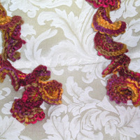 Spiral Scarf--Multicolor Purple/Burgundy/Yellow