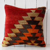 SALE - Engin / Hand Woven Kilim Pillow Cover - Vintage Turkish - Accent Pillow - Decorative Pillows - Pillow Cover - Pillow cases 16/16