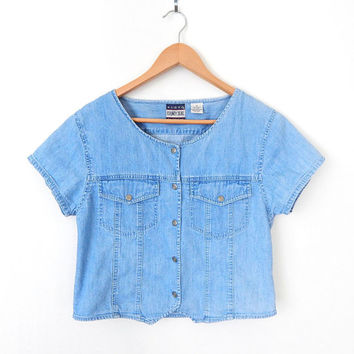 Vintage 90s Chambray Blue Short Sleeve Shirt - Size Medium - Snap Front Collarless Denim Women's Crop Top