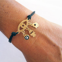 SAVE 25% Hamsa Evil Eye Hand of Fatima Bracelet Gold Plated black Stones Handmade Black Corded