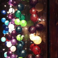 20 x mix design color cotton ball Bali string light patio outdoor decoration deco room bedroom wedding patio party Beach balcony