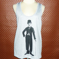 Charlie Chaplin t-shirt funny Tank Tops Retro movie T-Shirt Women Workout Tank Top Screen Printed T Shirt Clothing Apparel Tank S M L XL