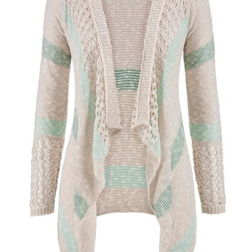 Open Stitch Striped Blanket Cardigan With Hood - Multi