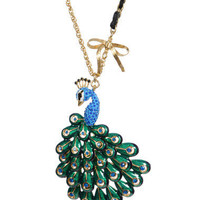 SMALL PEACOCK PENDANT NECKLACE - Betsey Johnson