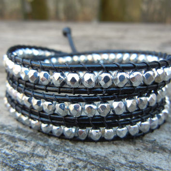 Beaded Leather Wrap Bracelet 3 Wrap with Silver Czech Glass Beads on Black Leather
