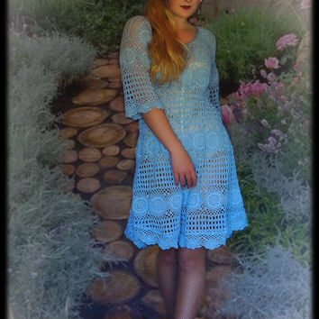 Lace dress in 100% cotton / large hand stitched crochet gown made from vintage crochet in shabby chic faded denim blue