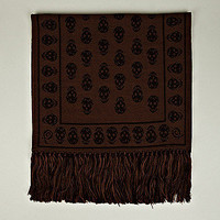 Alexander McQueen Men's Woven Upside Down Skull Scarf in brown