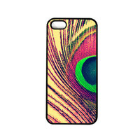 Iphone 5 case. Iphone 5 cover. Peacock feather. pink. gold. blue. green. girly. bohemian. chic. pretty. photo. abstract