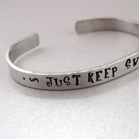 Just Keep Swimming -  Disney Finding Nemo Bracelet - Hand Stamped Aluminum Cuff - customizable