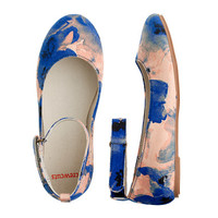 crewcuts Girls Watercolor Floral Ankle-Strap Ballet Flat