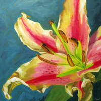 Large Floral Giclee On Canvas With .. on Luulla