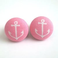 Barbie pink with white anchors nautical sailor fabric button earrings