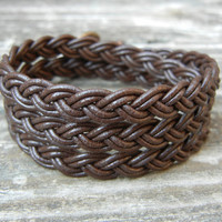 Braided Brown Leather 3 Wrap Bracelet Southwestern Style Customize with Your Choice of Color