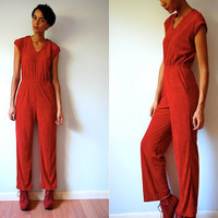 Vtg Disco Red Terry Cloth One Piece Sleeveless Jumpsuit