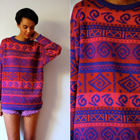 Vtg Hot Pink Purple Tribal Printed Sweater