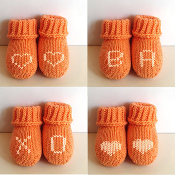 Peach merino baby socks, pure soft wool, handknit baby booties, newborn, 3-6 month, 6-12 month, choose letters