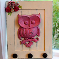 Vintage Owl Coat/Wall Rack Distressed Ivory by LoveNuggetDesigns