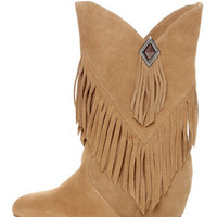 Obsession Rules Hopey Luggage Suede Fringe Wedge Boots - $167.00