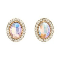 Iridescent Crystal Stud Earrings by Charlotte Russe - Gold
