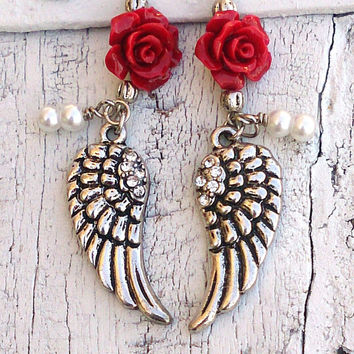 Red Rose Wing Earrings Crystal ANGEL WING Earring Antique Silver Religious Jewelry