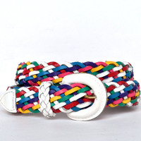 Vintage 80s White Colorful Braided Woven Leather Belt S