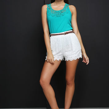 Waisted Belted Crochet Shorts