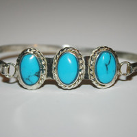 Beautiful Vintage Sterling Silver with three Turquoise Stones Bracelet 8 in -US free shipping