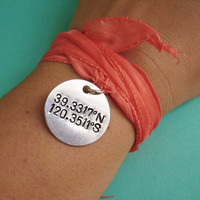 Silk Wrap Bracelet with Latitude & Longitude by spiffingjewelry