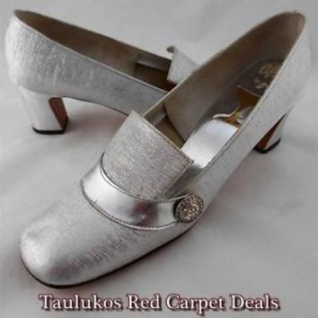#Vintage 1950s 1960s AFTER FIVE BY SOPHIA #Metallic #SILVER Womens #shoes sz 8 N