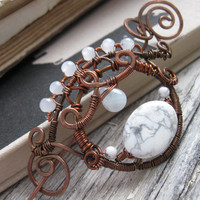 Wire Wrapped Shawl Pin - Swirly White Snow Round - Whimsical Copper Wire Brooch - Hand forged Hammered - Sweater Scarf pin -Royal Victorian