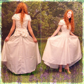 Afternoon wedding vintage bridal gown in ivory, fairytale taffeta drop shoulder dress with bows lace and pearl features / hi lo skirt train