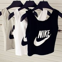 Free Shipping women's AA style harajuku letter print up-navel short sexy bustier crop top sleeveless vest sports yoga tank camis