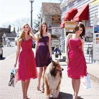 Strapless mini short 2012 red Bridesmaid Dresses WDBD091