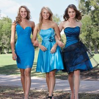 pictures of One-shoulder/strapless blue 2012 mini Short Bridesmaid Dresses WDBD086