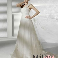 pictures of A-line one shoulder white tulle sweep train wedding dresses SPK0019
