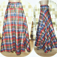 "Vintage 70s AMAZING Mad For Plaid Full Sweep  Maxi Skirt Long Flowing BOHO 28"" Waist"