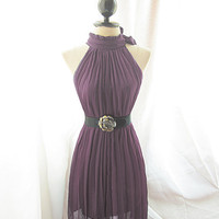 Purple Pleated Romantic Chiffon Dress Classic by RiverOfRomansk